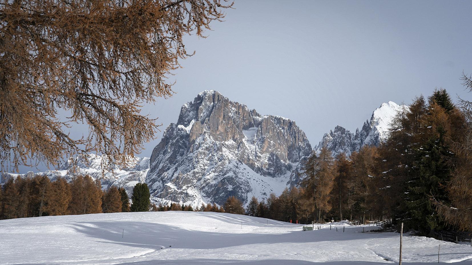 Une semaine dans les Dolomites Alpe di Suisi contraste neige automne sapins rouges montagnes