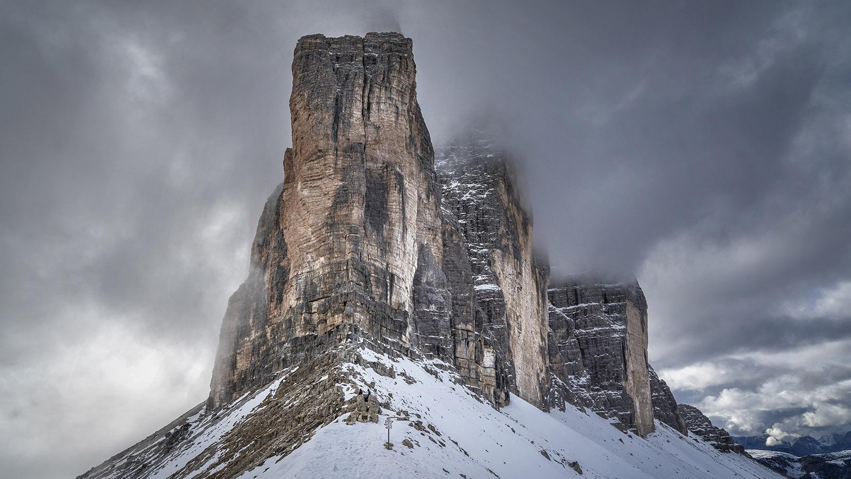 Une semaine dans les Dolomites Tre Cime nuages neige roche