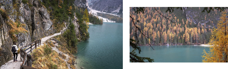 randonnée lago di Braies sentier lac sapins oranges jaunes automne