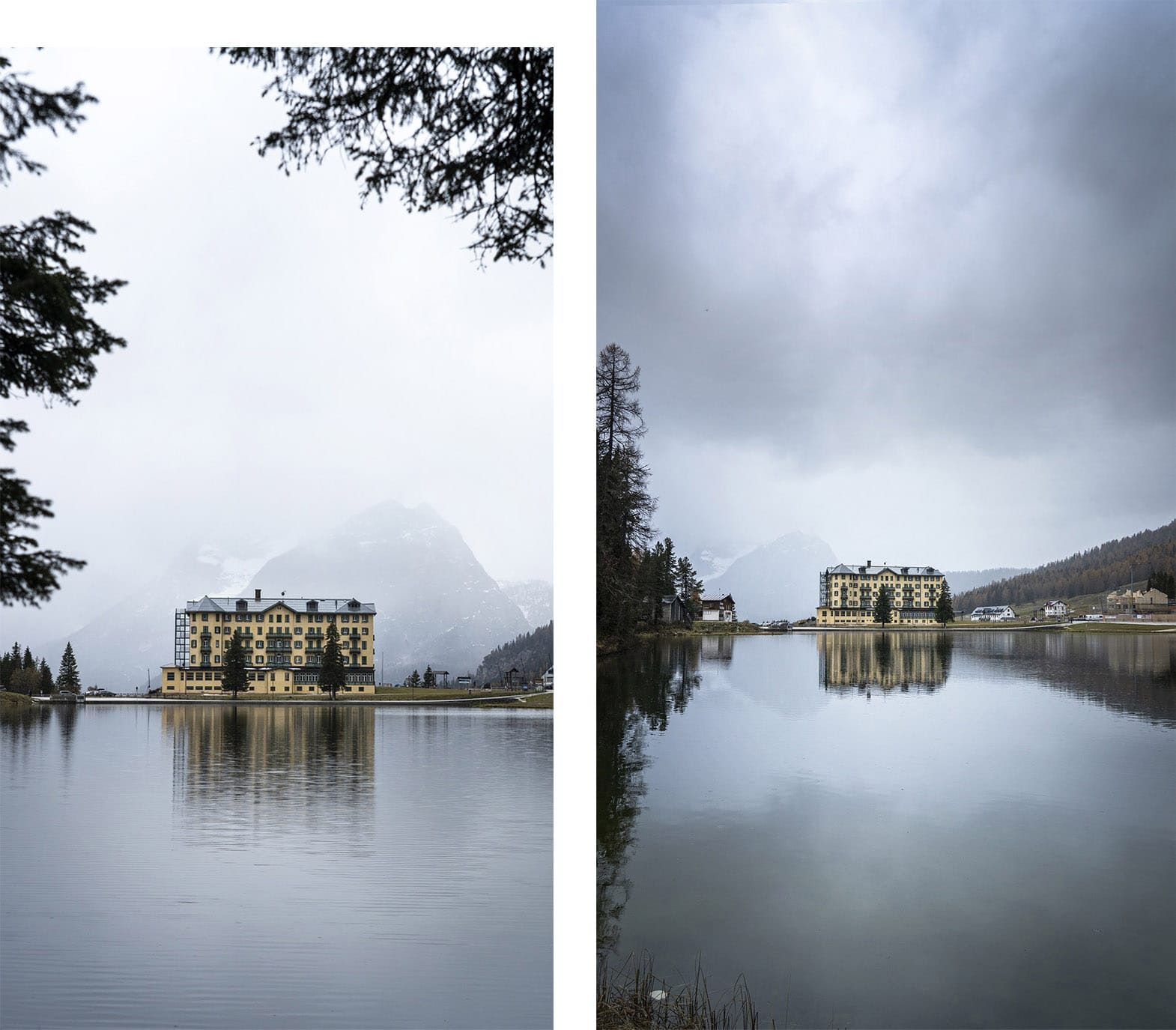 Lago di Misurina opéra jaune milieu lac