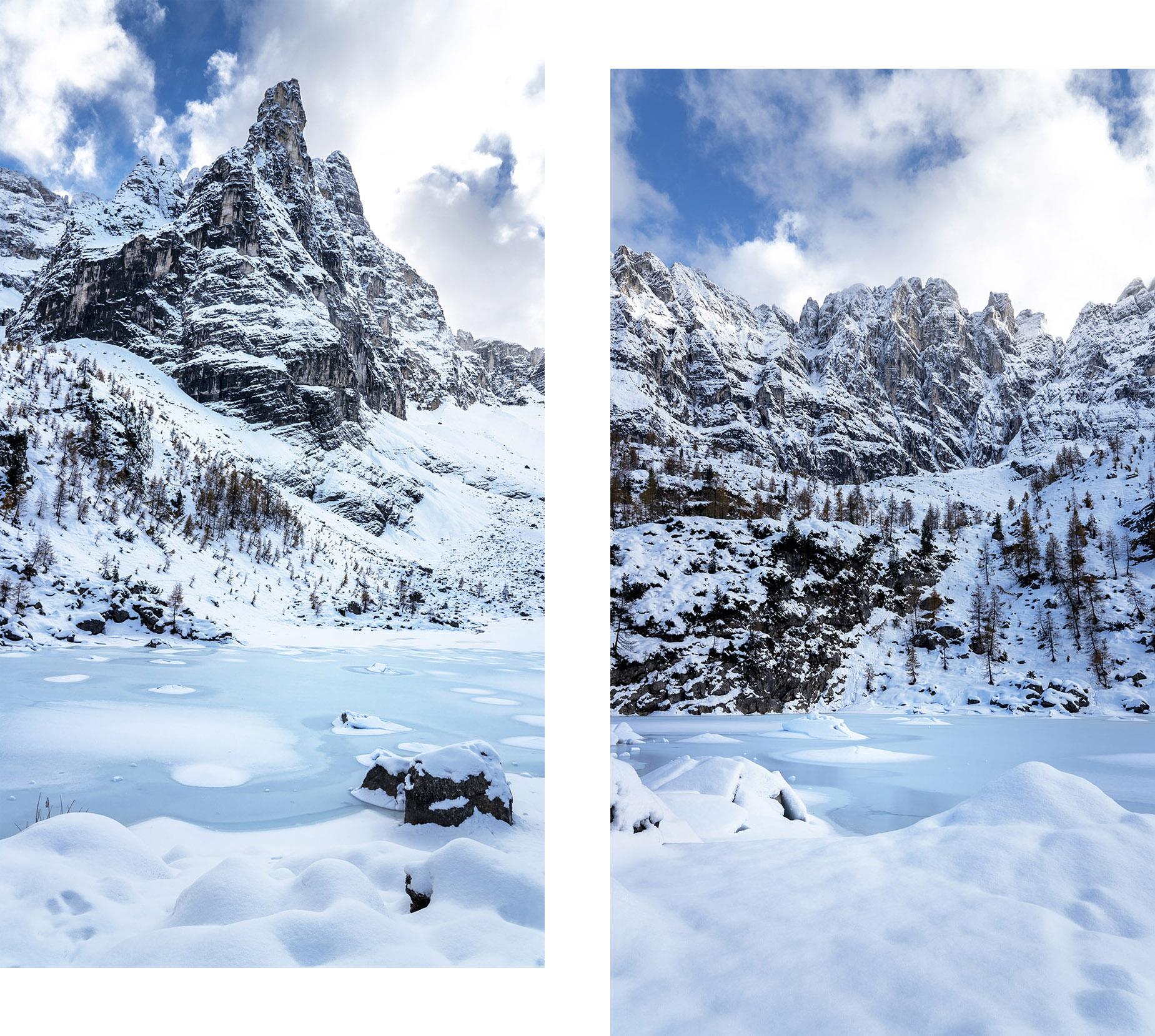 Lago di Sorapis randonnée lac gelé vert montagnes neige