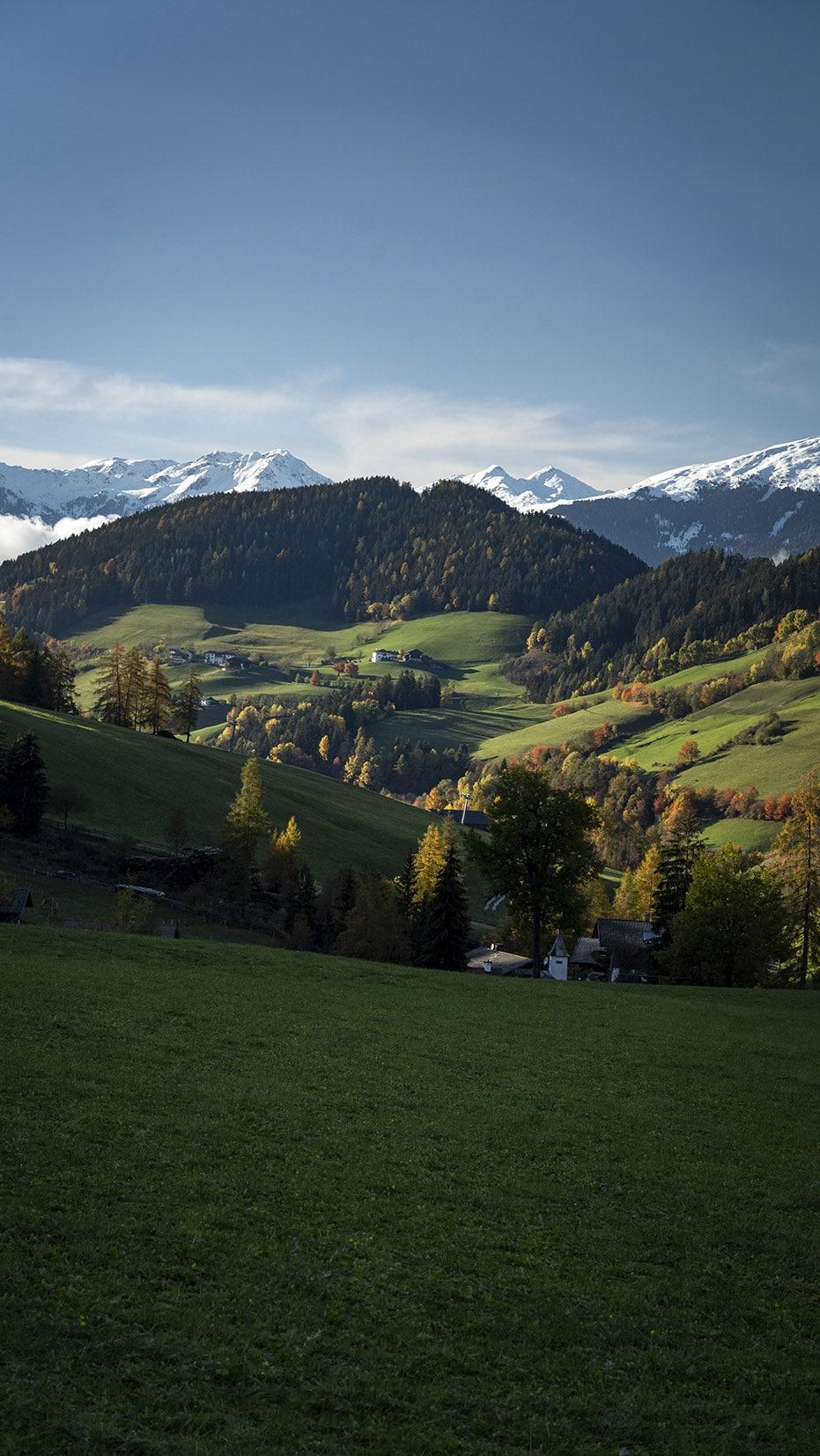 Collines Dolomites sapins automne montagnes