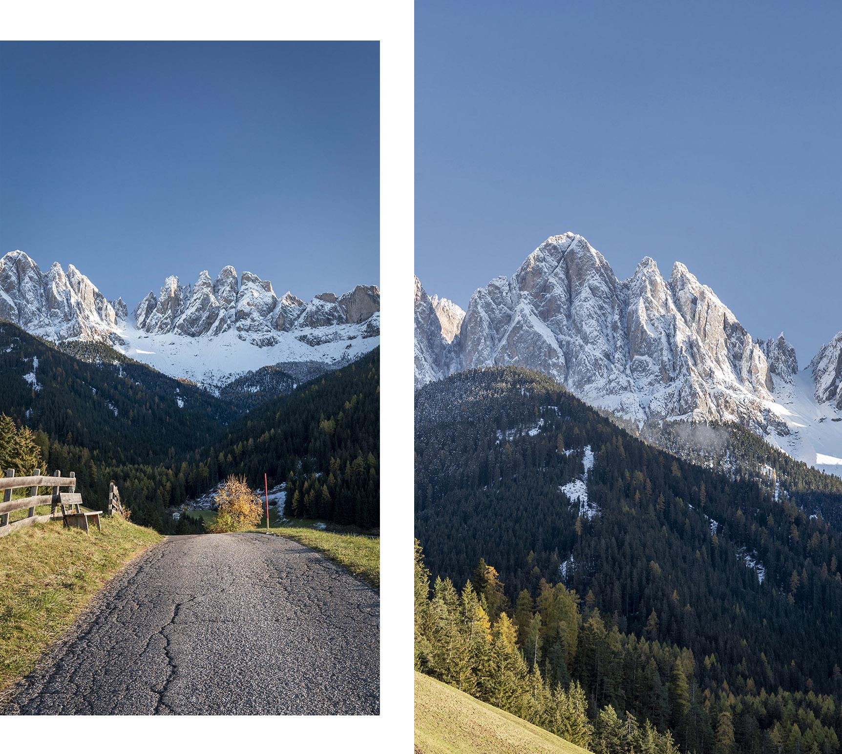 Italie Sud Tyrol route banc chemin vue sapins montagnes neige