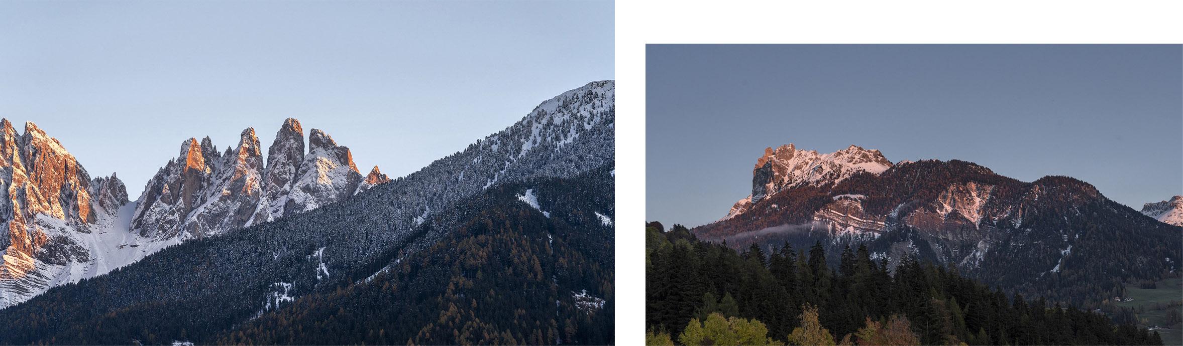 Coucher de soleil Funes Santa Magdalena Italie Sud-Tyrol