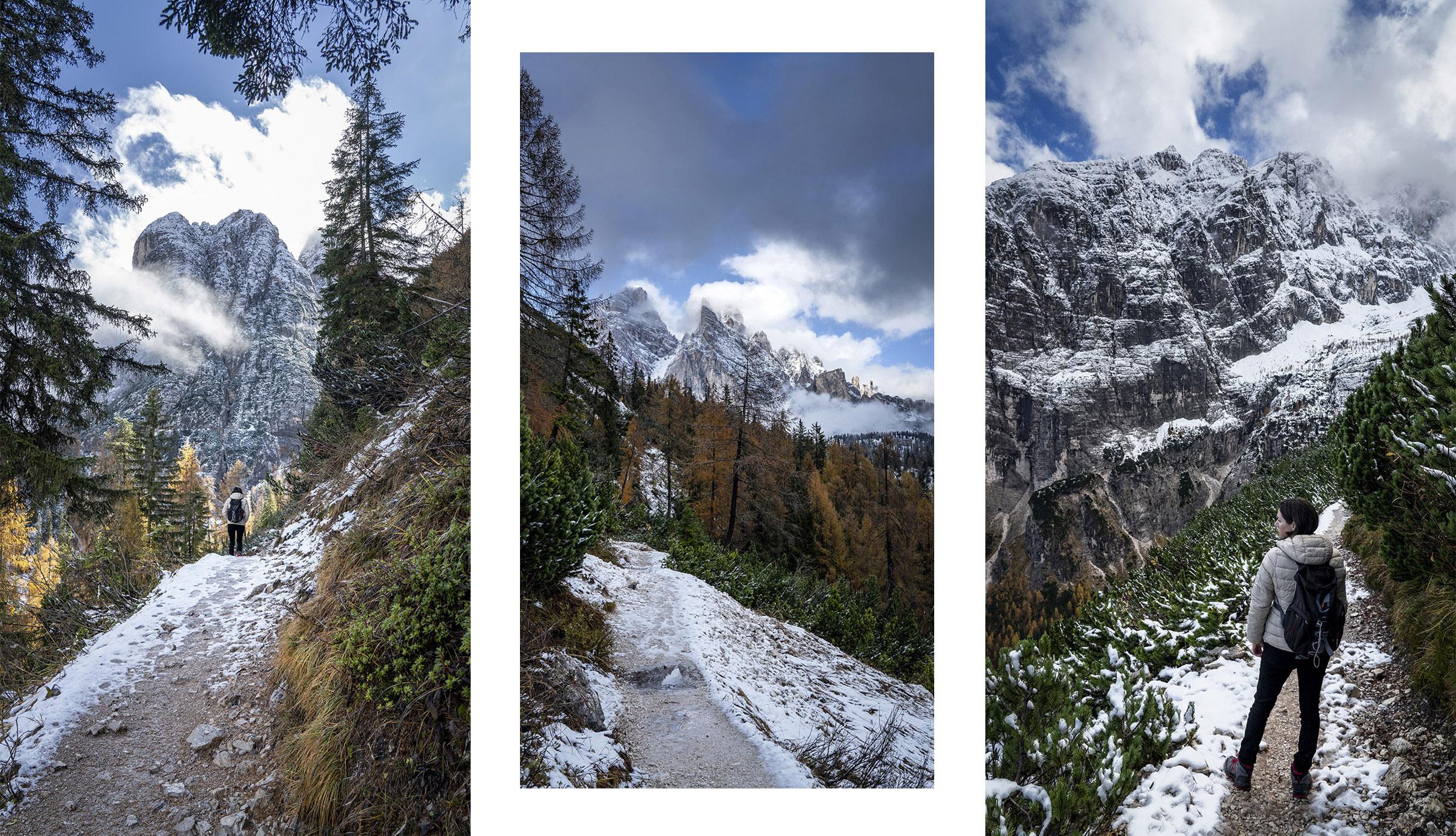 Randonnée Lago di Sorapis montagne sapins nuages ciel bleu