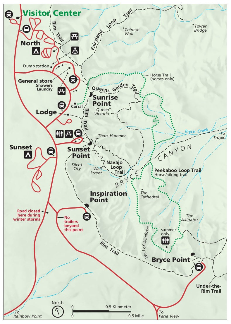 plan Bryce Canyon points d'intérêts