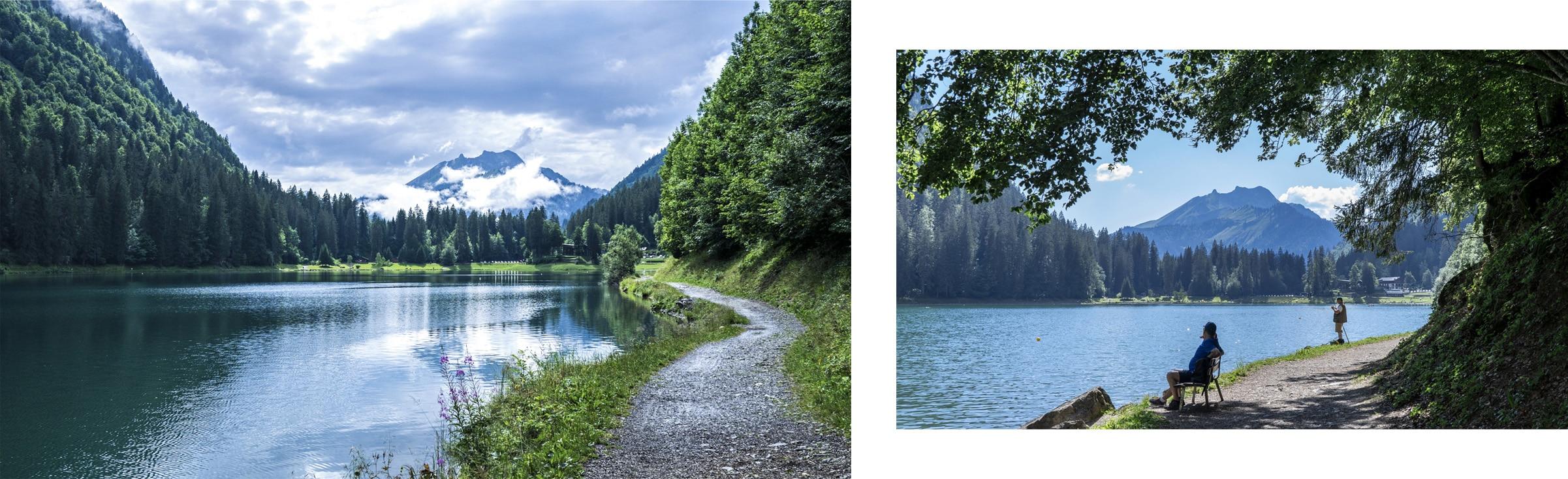 Lac de Montriond chemin montagnes nuages lac sapins